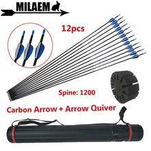 12 pçs tiro com arco de carbono setas com seta quiver espinha 1200 pena borracha id4.2mm ao ar livre arco flecha caça acessórios