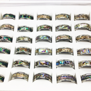 Image 5 - 20 шт., кольцо в виде ракушки для мужчин и женщин, унисекс, титановый узор из нержавеющей стали, полированный изысканный трендовый ювелирный продукт, оптовая продажа