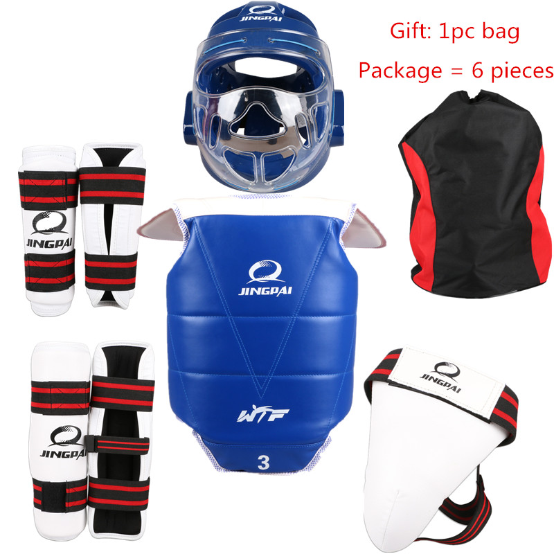Taekwondo Protectors Full set of 5 Pieces Child Adult Helmet Chest protector Armguards Shank Protector Crotch Free Bag детская футболка классическая унисекс printio i love you beary much