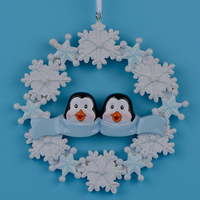 Penguin Family With Snowflake Of 2 Polyresin Christmas Personalized Ornaments
