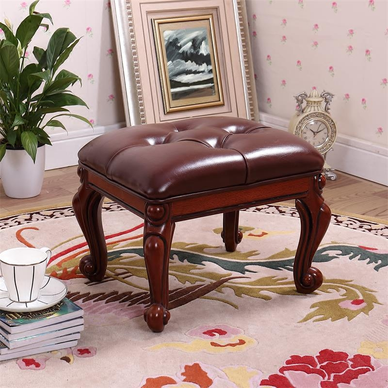 European home living room solid wood leather sofa stool change shoes stool coffee table stool small board Deng