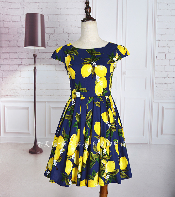 Womens Customize Lemon Flower Print cotton dresses Ladies Casual High Waist A Line Mini Retro umbrella Dress