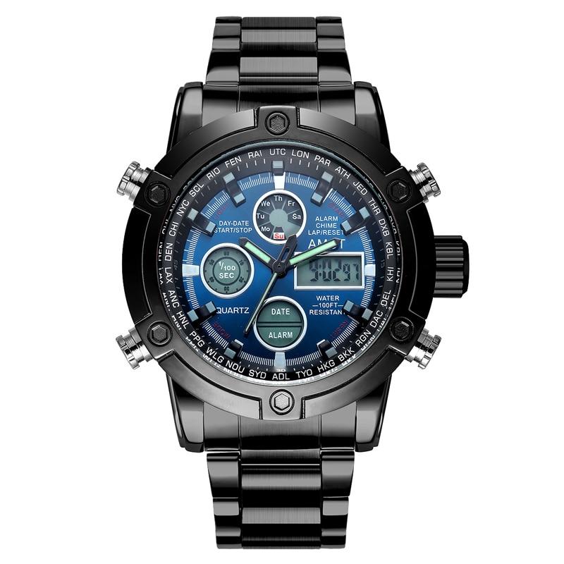 Hodinky Muži 2018 Nejlepší značka AMST 3022 Duální displej Náramkové hodinky Luxusní sportovní Military LED Digitální hodinky Relogio Masculino