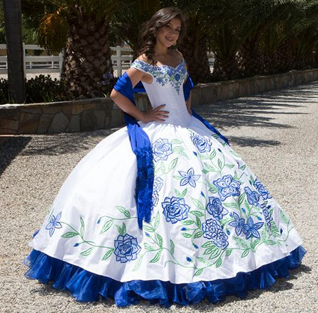 Buy hot sale bue and white puffy for Mexican wedding dresses for sale