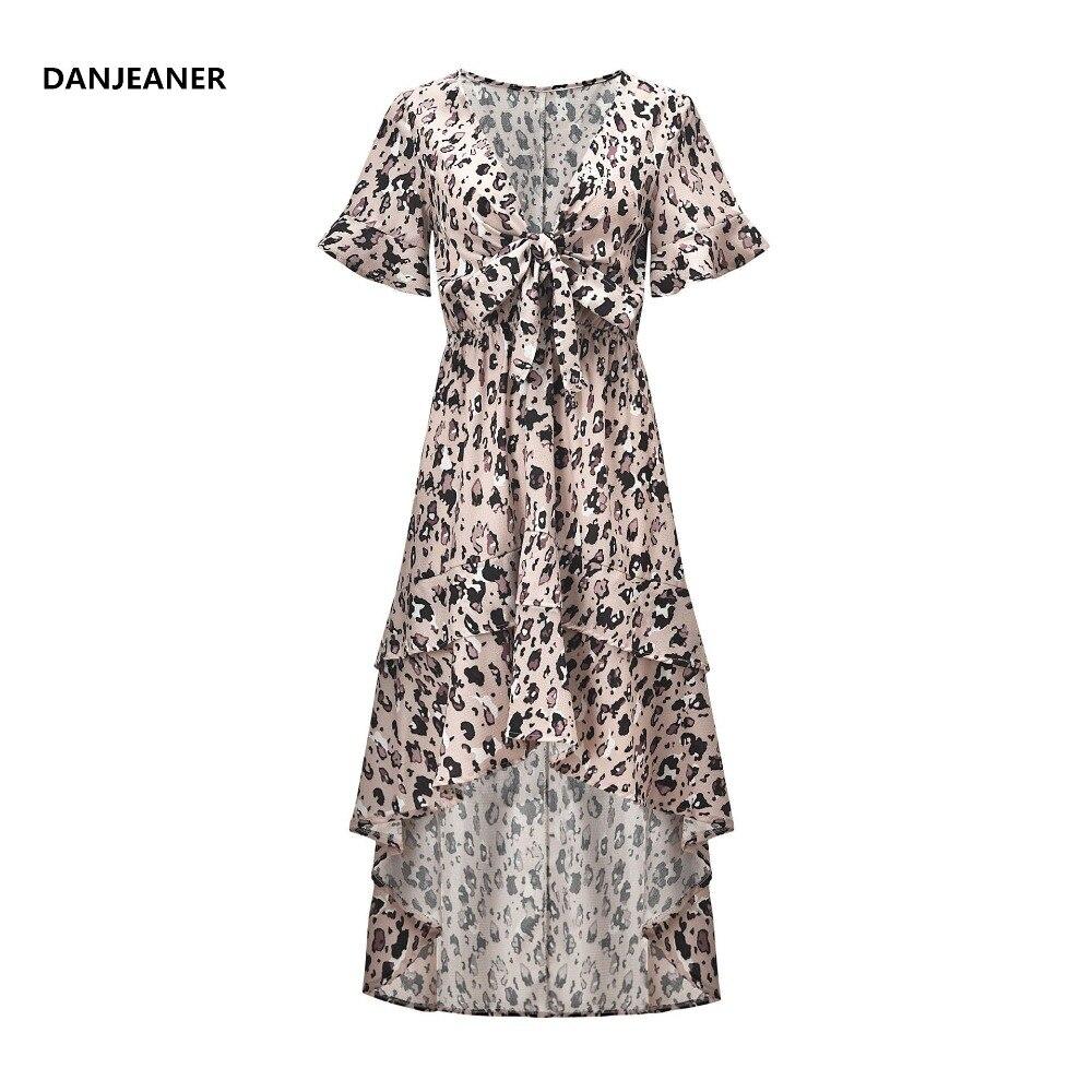 57bad199b Danjeaner leopardo estampado con cuello en V corbata de mariposa vestido  largo mujer verano Irregular golondrina vestido de gasa Vestidos elegantes