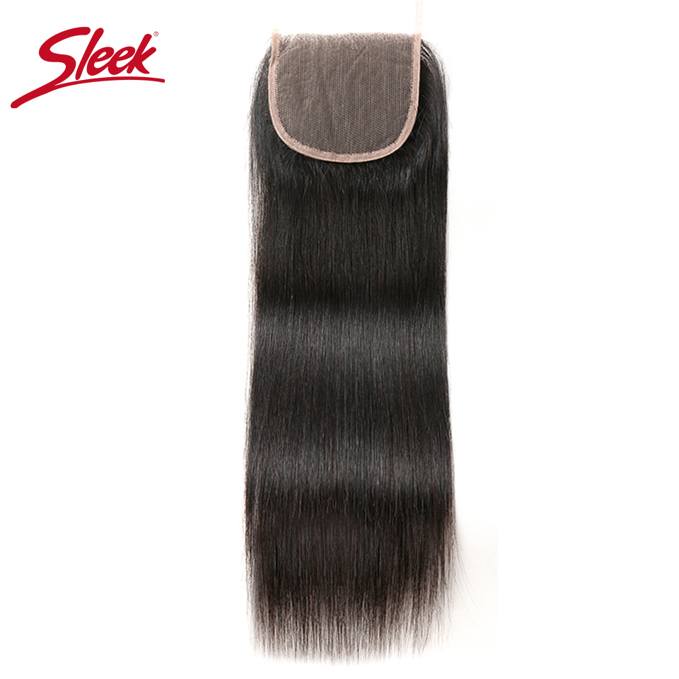 Sleek Brazilian Straight 4x4 Swiss Lace Closure Remy Human Hair Closure Free/Three/Middle 3 Part Top Closures Bleached Knots