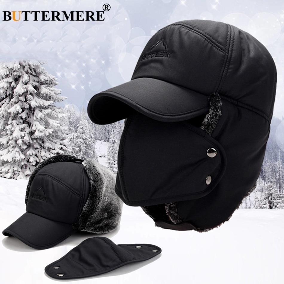 a5431071d BUTTERMERE Men'S Winter Hats Russian Bomber Coffee Cotton Earflap ...
