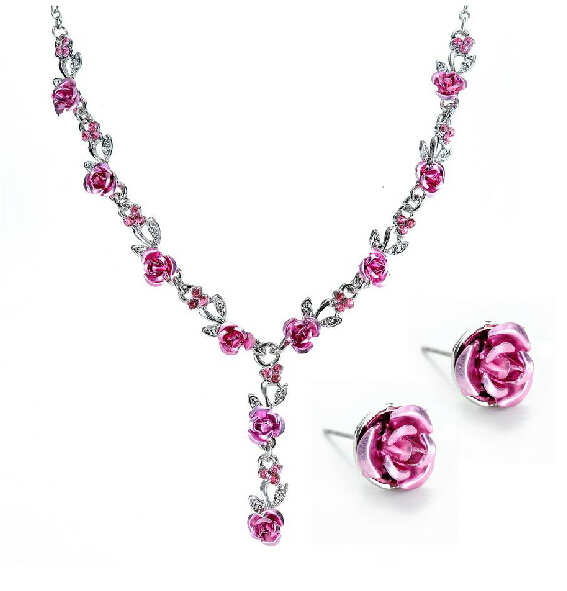 Fashion Metal Rose Necklace Earrings Wedding Bridal Jewelry Sets