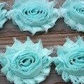 1yard DIY Aqua Chiffon Flower Shabby flower Trim rose flower trim for hai flower headband clothes