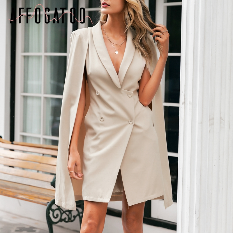 Affogatoo Elegant V neck office ladies cloak blazer dress women Vintage shawl sleeveless dresses Party club female short dresses