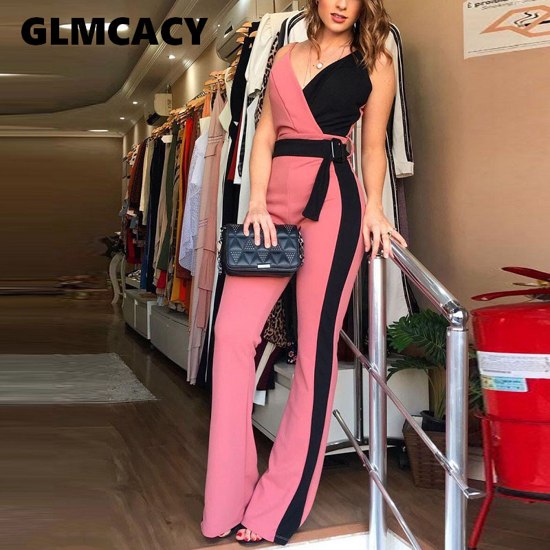 Women Summer Casual Color Block   Jumpsuits   Spaghetti Strap Sexy V Neck Belted   Jumpsuit   Overalls Elegant Chic Streetwear