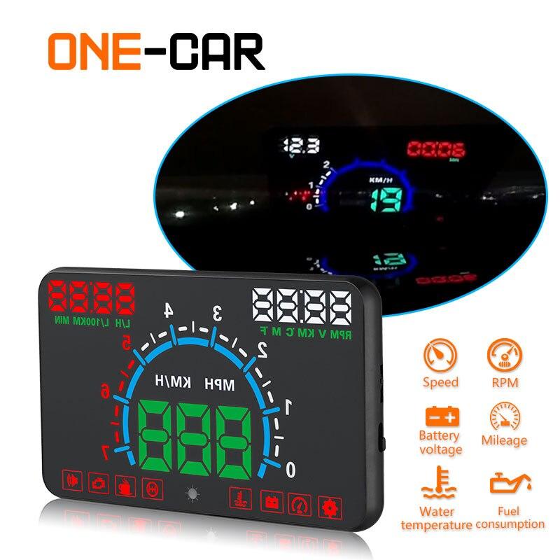 GEYIREN E350 OBD2 II HUD Voiture Affichage 5.8 pouce Écran Facile Plug And Play Alarme De Survitesse Carburant Consommation affichage hud projecteur