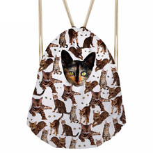 Funny 3D Many Tabby Cat Print Women Drawstrings Bags Casual Ladies Softback Beach Bag Shoes Clothes Storage BackpackSumka