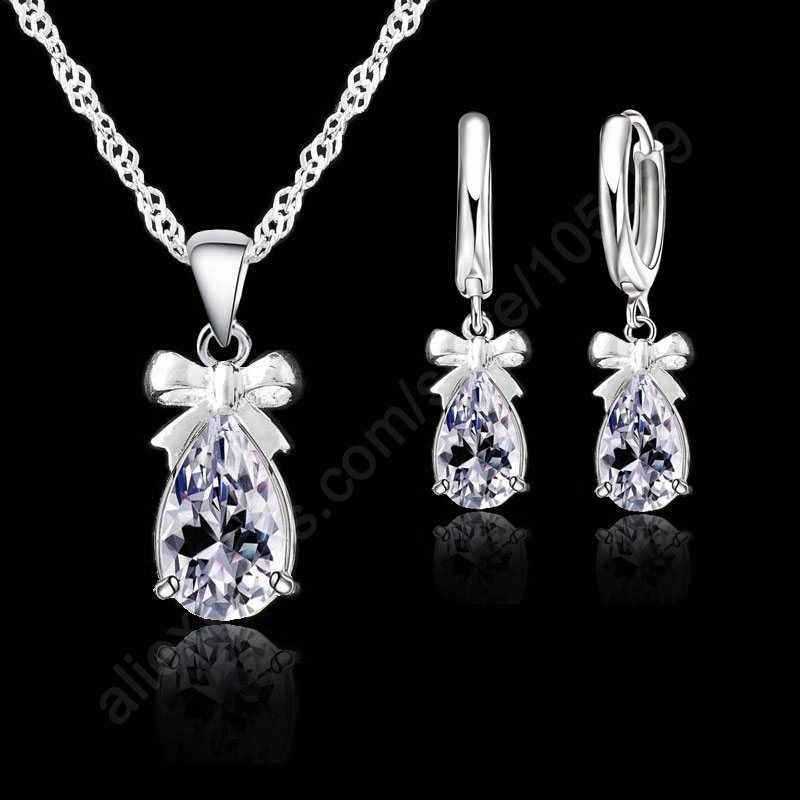 New Fashion 925 Sterling Silver Necklace Earrings Set With Clear Crystal Bow Tie Decoration Women Girls Party Engagement Jewelry