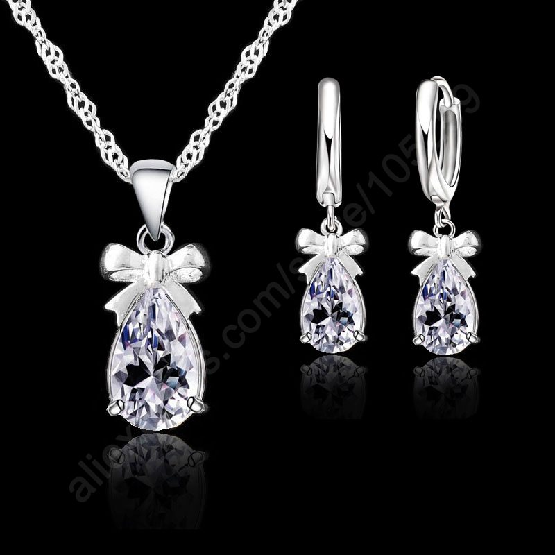 New Fashion 925 Sterling Silver Halsband Örhängen Set Med Klar Crystal Bow Tie Dekoration Kvinnor Girls Party Engagement Smycken