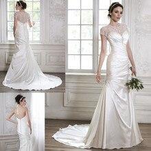 Detachable Luxury Beaded Short Sleeve Tulle Corset A line Pleated Satin Wedding Dresses Factory Custom Make
