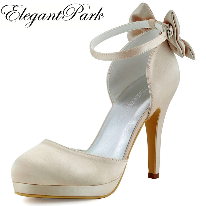 цена на Woman Champagne Ivory Ankle Strap High Heel Platform Pumps Satin Bride Bridesmaid Ladies Bridal Wedding Shoes AJ091-PF White