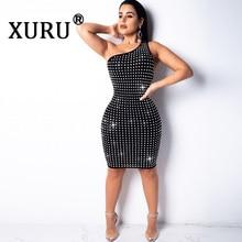 XURU Summer Sexy Diamond Dress Backless Strapless Big Irregular Slim Club Party Black