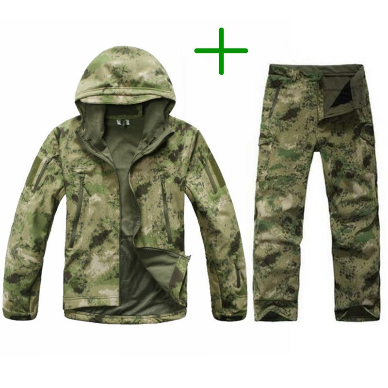 TAD Tactical Men Army Hunting Hiking Fishing Explore Clothes Suit Camouflage Shark Skin Military Waterproof Hooded Jacket+Pants shark skin softshell tactical military camouflage pants men winter army waterproof warm fleece sport camo hunting outdoor pants