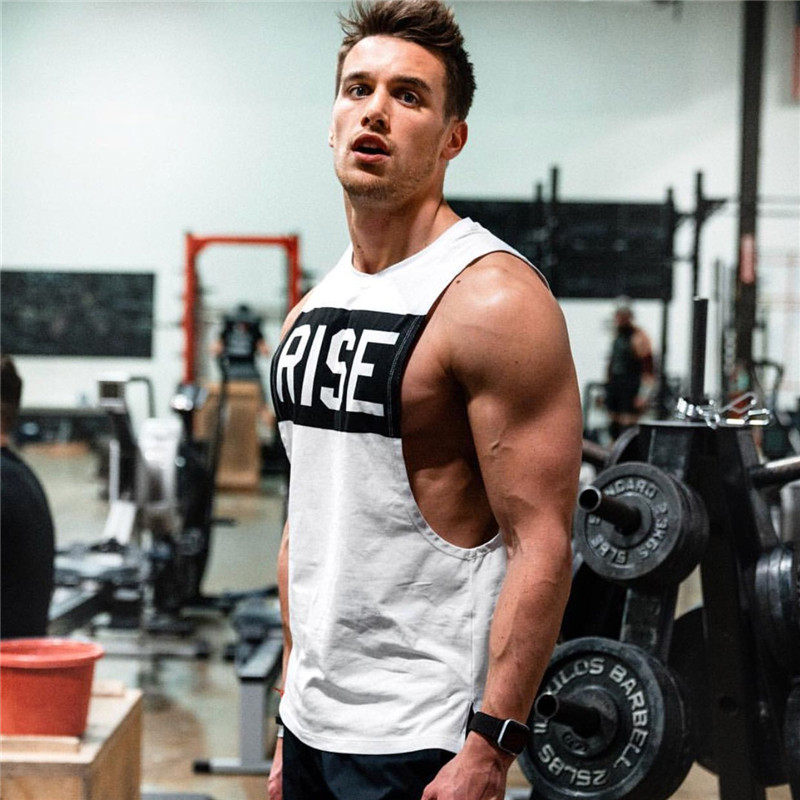 2019 Summer New Sleeveless Cotton Breathable Gyms Tanks Tops Men Vest Summer Vest Mens Tank Top Gym Workout Fitness Shirt