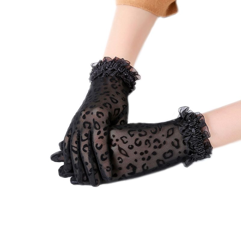 1Pair Fashion Women High Quality Leopard Print Lace Gloves Paragraph Gloves Mittens Accessories Full Finger Gloves