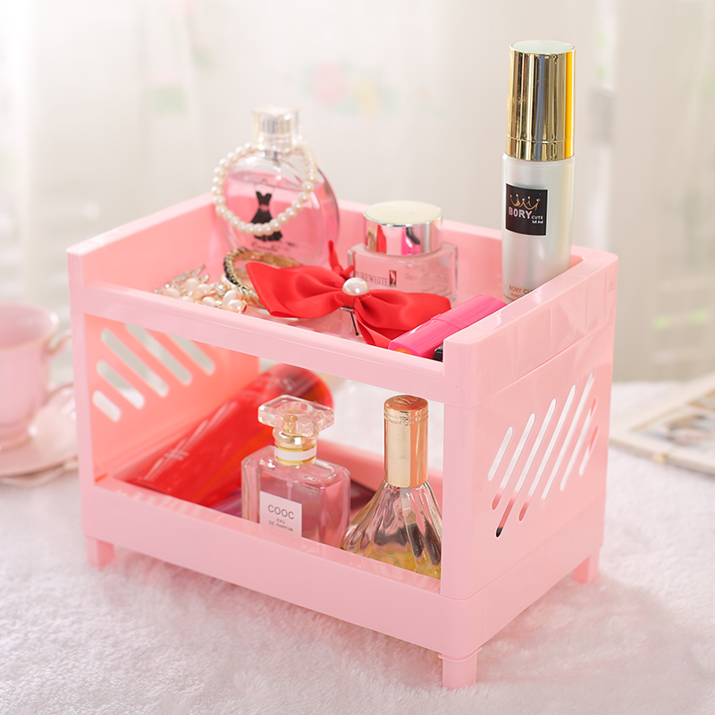1pc Desktop 2 Layers Shelves Cosmetic Makeup Organizer Kitchen Bathroom Storage