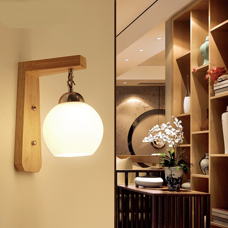 Solid wood bedside lamp wall modern simple LED bedside lamp bedroom Round wood creative European American Japanese warm ZH MZ57
