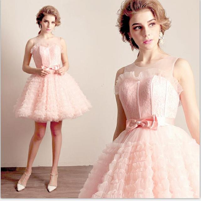 ae22b69ffff Pink lace sexy perspective racerback princess bride brides maid short  design marriage dress bow Homecoming Dresses