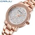 Женские часы CRRJU  роскошные брендовые модные часы с бриллиантами розового золота  2018