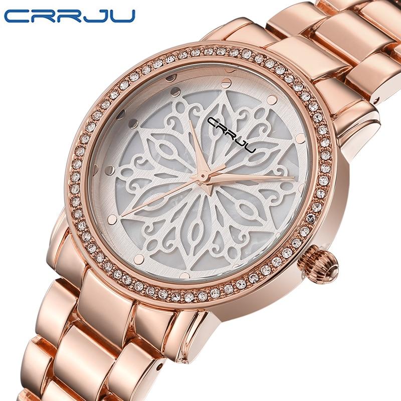Prix pour CRRJU de luxe Robe Marque De Mode Montre Femme Dames or Rose Diamant relogio feminino Robe Horloge femelle relojes mujer 2016 Nouveau