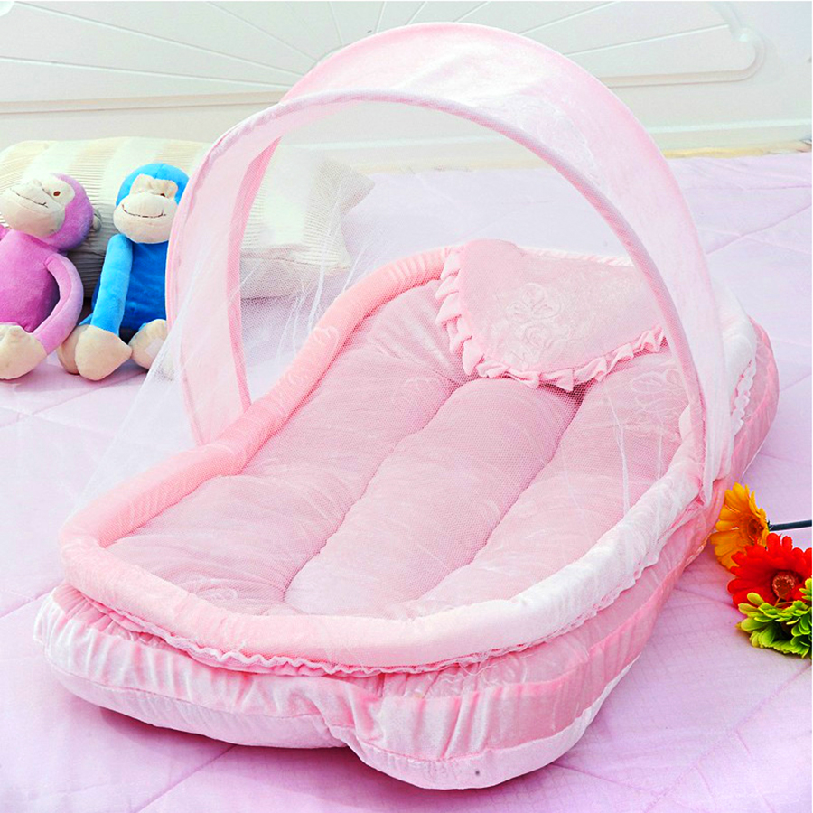 With netting Foldable Portable baby crib Super soft dust-proof kids bed Boy and girl cribs folding portable baby bed for 0-12MWith netting Foldable Portable baby crib Super soft dust-proof kids bed Boy and girl cribs folding portable baby bed for 0-12M