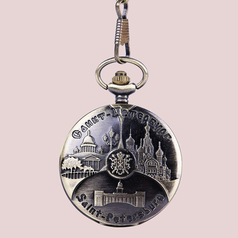 1086    Hot Sell Western Bronze Pocket Watches St Petersburg Pattern Vintage Design Quartz Clock Chain Fashion  Pendant Montre