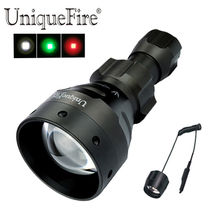 UniqueFire 1504 XPE Green/Red/White Light Led Flashlight 3 Modes Lamp Torch with Remote Pressure Switch for Predaor Hunting