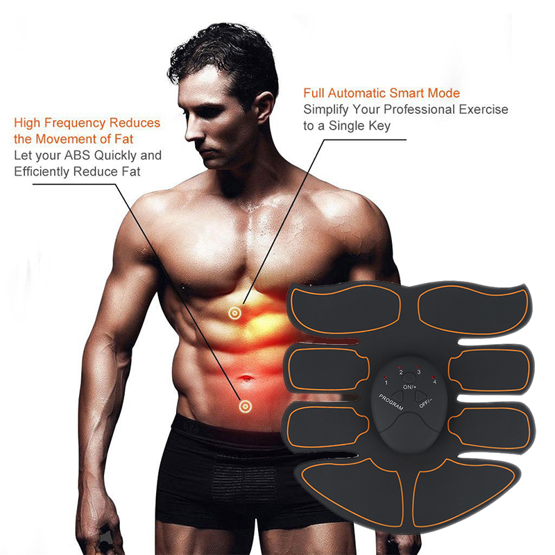 Black with red Ultra Thin ABS Stimulator Wearable Durable Abdominal Muscle Exerciser Training Lightweight Abs Sticker Pad