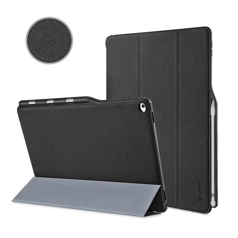 for apple ipad pro 12 9 inch case leather slim fit flip folio case w pencil holder auto sleep. Black Bedroom Furniture Sets. Home Design Ideas
