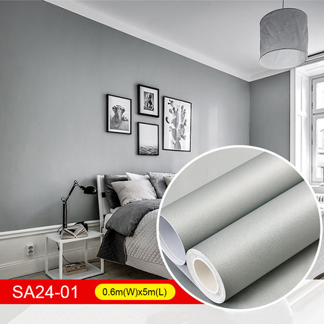 5m pure color waterproof wallpaper modern pvc grey wall stickers
