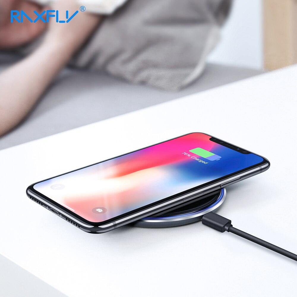 RAXFLY 10 W QI cargador inalámbrico para iPhone Xs Max Xr X 8 8 más rápido carga inalámbrica para Samsung Galaxy s8 S9 más S7 Note8 9 cargador inalambrico para iPhone Xs Max Xr