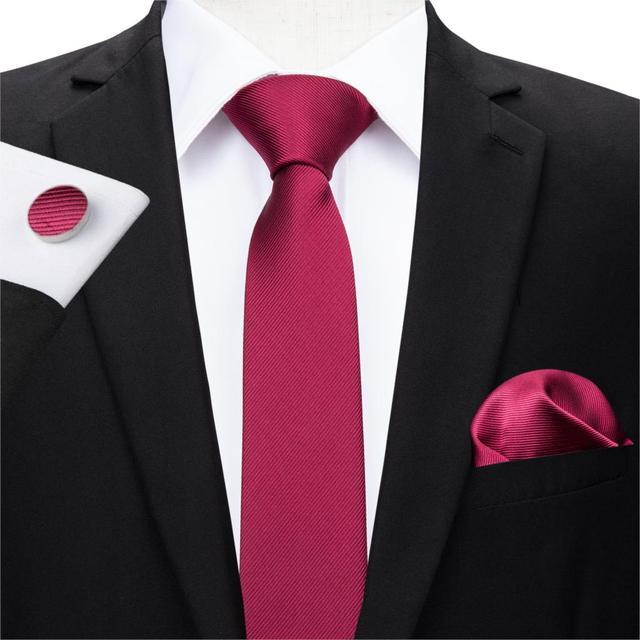 0ee5515eeda6 Hi-Tie 5.5cm Width Quality Silk Slim Tie Necktie Set Classic Dark Red Narrow