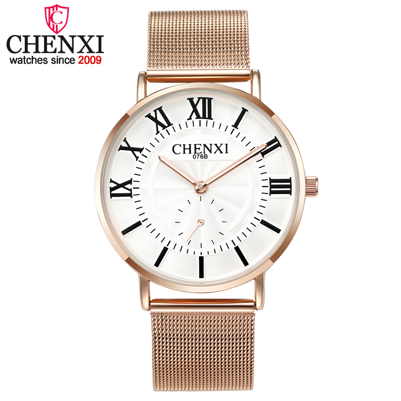 Fashion CHENXI Luxury Women Watches Lover Wristwatches Men Women Quartz-watch Rose Gold Stainless Steel Ladies Quartz Wristwatch