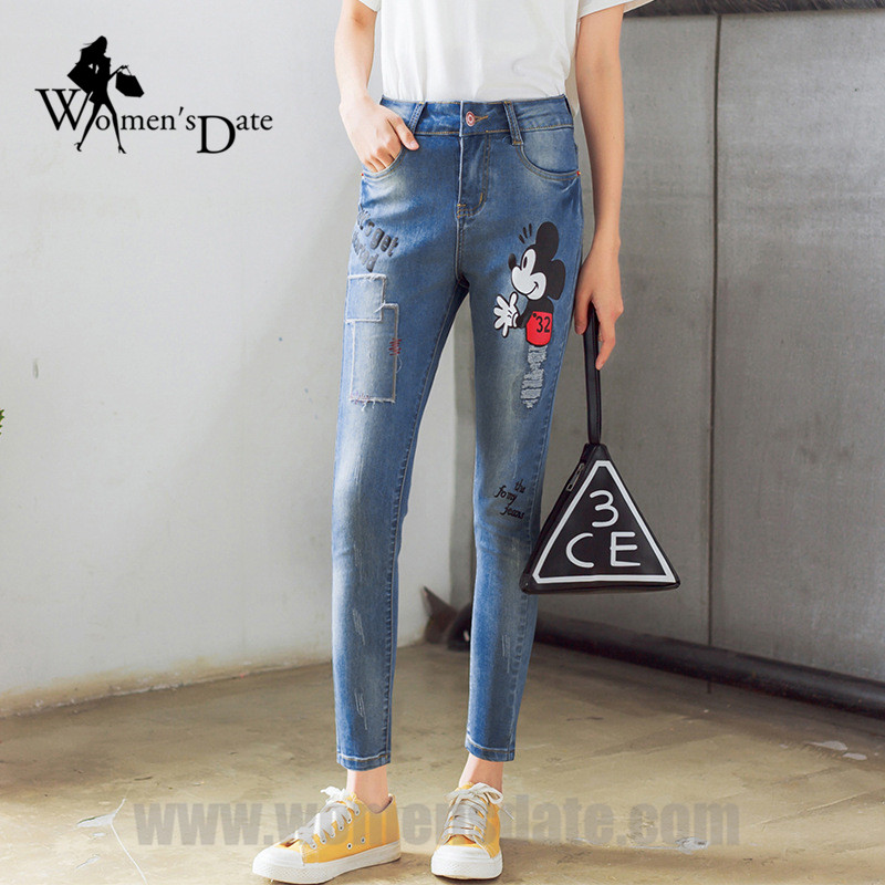 ФОТО WomensDate 2017 Hot Sale Women Embroidery Elasticity Blue Jeans Slim Hip Pencil Pants Print Cartoon Character Trousers Denim