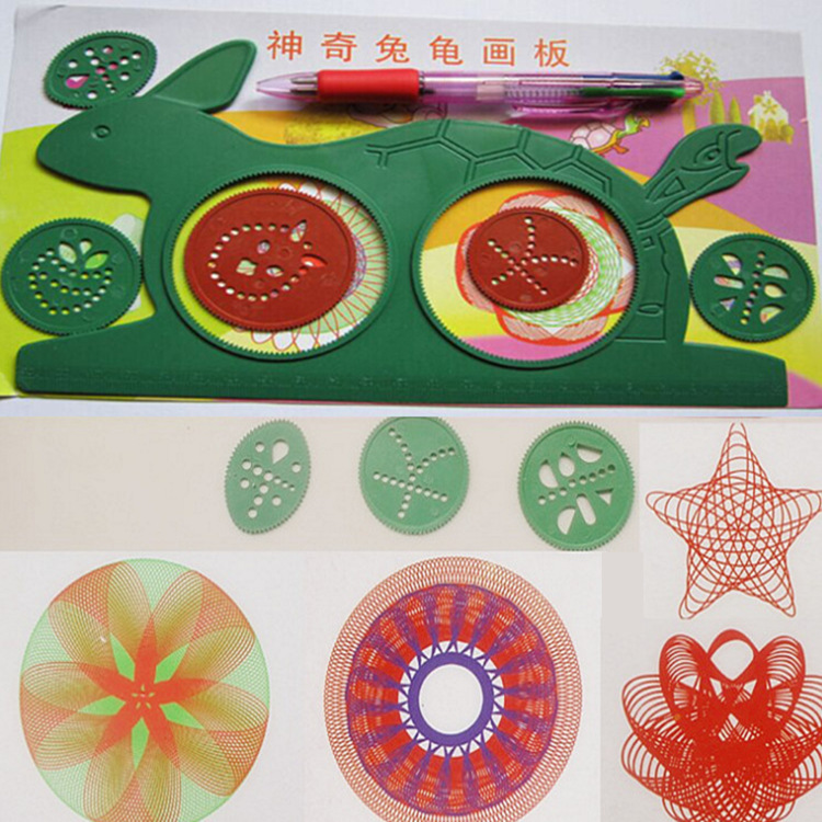 Children's Magical Turtle Rabbit Drawing Board Variety Puzzle Million Flower Ruler Multifunctional Ruler Classic Toy