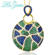 L&zuan S925 Sterling Silver Pendants for Women Jewelry Round Multicolor Zircon Necklace Female Party Accessories Valentine Gifts