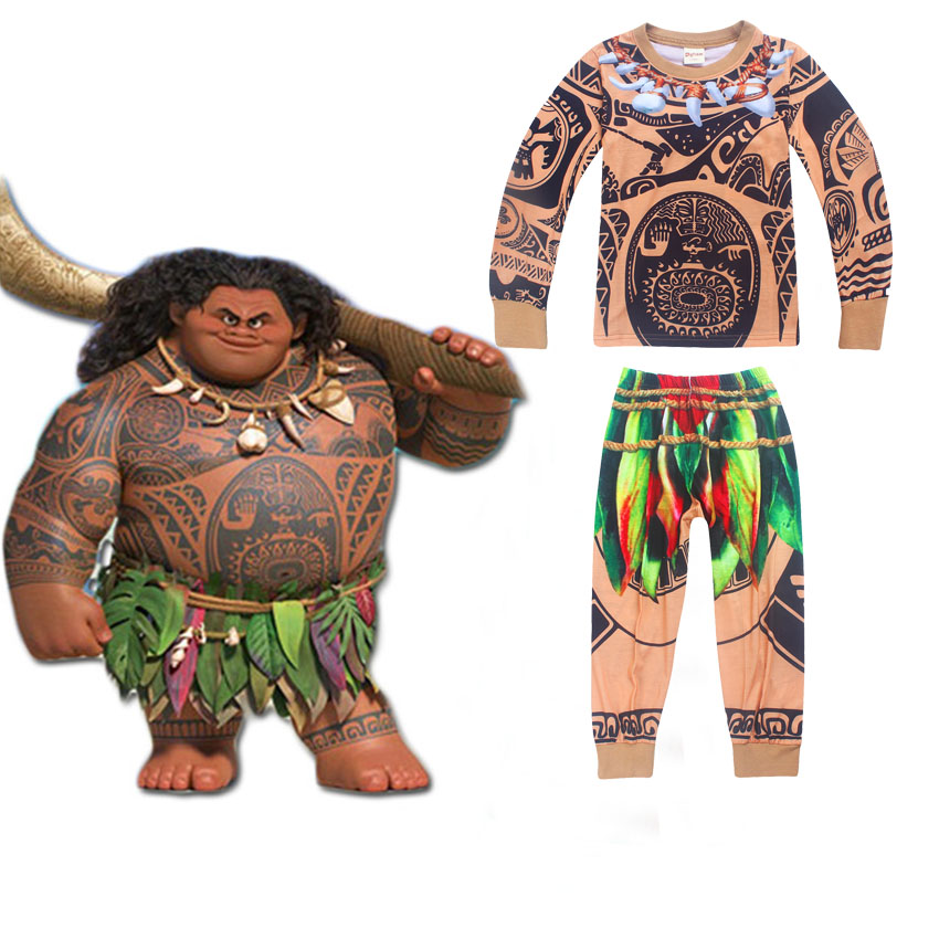Boys Autumn pajamas Moana Maui Printed Clothing T-shirt+Pant 2pcs Sets Pijamas Kids boy Cotton Clothes Children pyjamas Suits 10