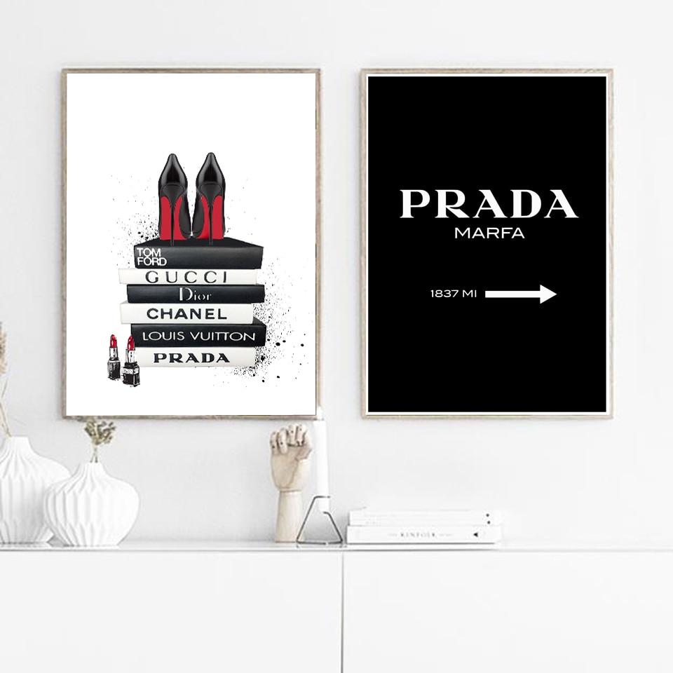 Moderne Brief Leinwand Malerei Schwarz und Weiß A4 Poster und Drucke Lippenstift Wand Kunst Bild Für Wohnzimmer Nordic Hause decor