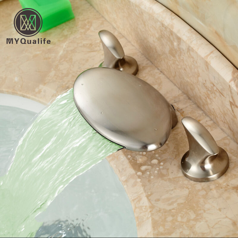 Good Quality LED Light Wide Waterfall Spout Basin Faucet Dual Handles Sanitary Basin Mixer Taps Brushed Nickel