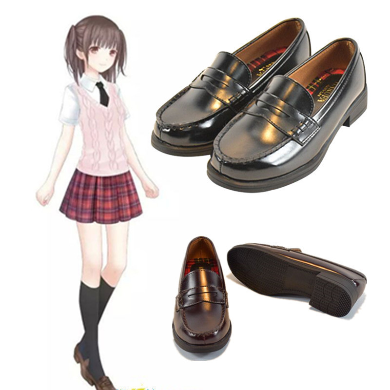 LoveLive Japanese Student Shoes College Girl Student Shoes JK Commuter Uniform Shoes PU Leather Shoes