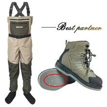 מגפים לטוס דיג נעליים עם ציפורניים & מכנסיים בגדים עמיד למים חליפת סרבל שכשוך במעלה הזרם נעלי הרגיש בלעדי מגפי דולף מים