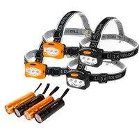 EVERBRITE 4PC LED Headlamp + Black/Orange 4PC LED Flashlight for Camping Adventure Family Head Lamp Set