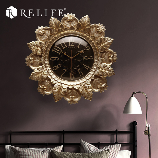 3D Vintage Large Wall Clock Handpainted Modern Design Home Decorative Clock for Living Room