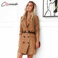 Conmoto Fashion Khaki Plaid Women Blazer Dress 2019 Autumn Winter Long Sleeve Slim Short Dress Office Pockets Blazer Out Wear